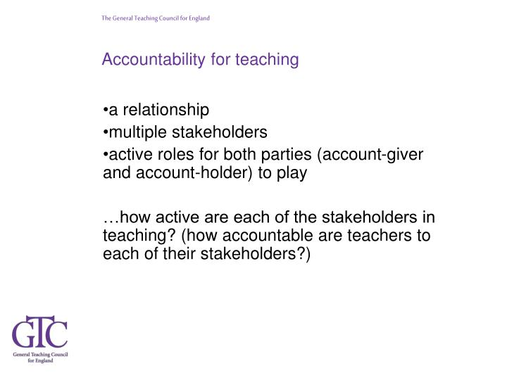 Accountability for teaching