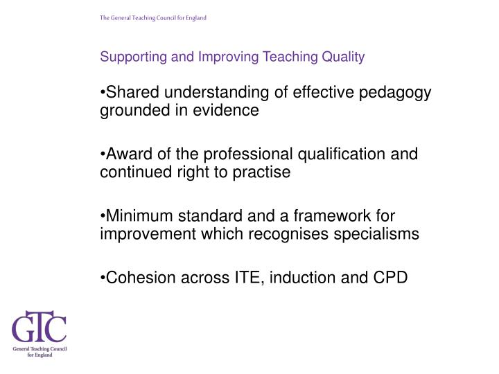 Supporting and Improving Teaching Quality