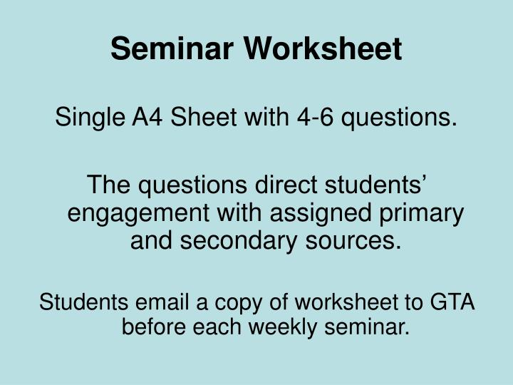 Seminar Worksheet