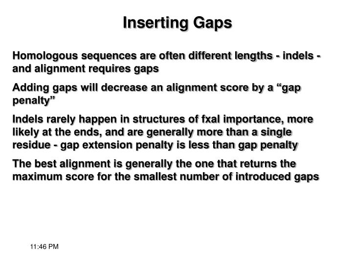 Homologous sequences are often different lengths - indels - and alignment requires gaps