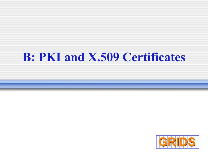 B: PKI and X.509 Certificates