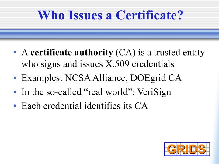 Who Issues a Certificate?