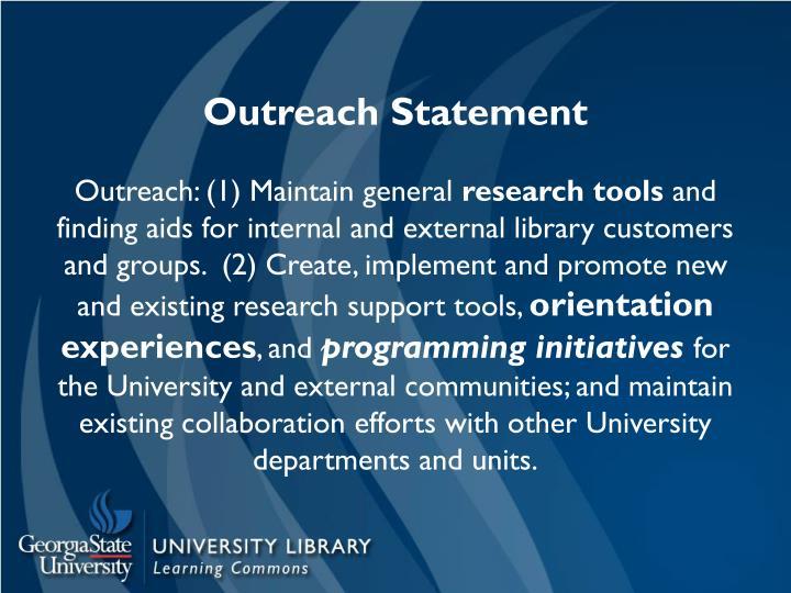 Outreach Statement