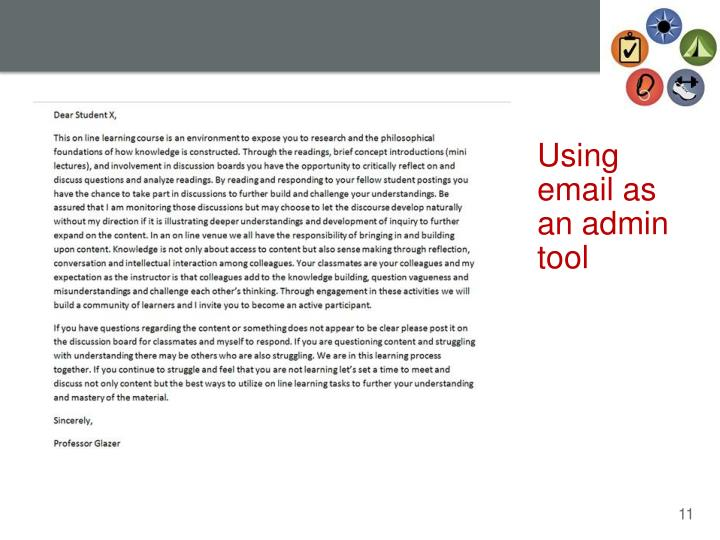 Using email as an admin tool