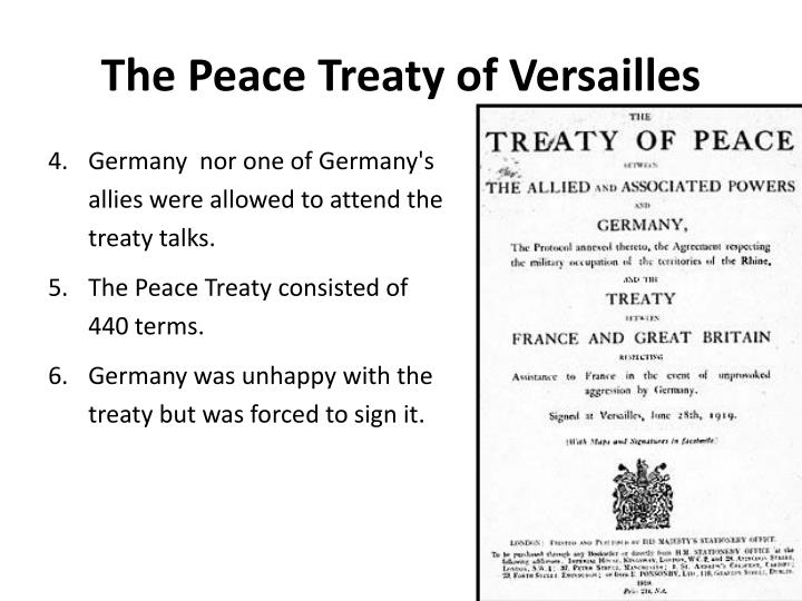 an analysis of the peace treaty of versailles signed in 1919 after the end of the great war It would soon give its name to the most famous document to emerge from the conference – the treaty of versailles this document was signed in the palace's famous galerie des glaces – the hall of mirrors who were the key players council of four at the wwi paris peace conference, may 27, 1919.