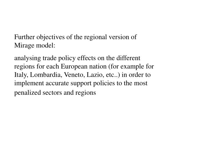 Further objectives of the regional version of Mirage model: