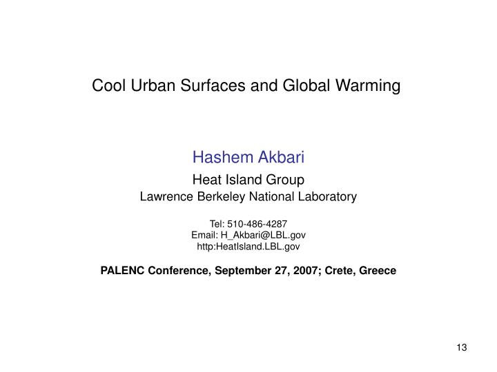 Cool Urban Surfaces and Global Warming