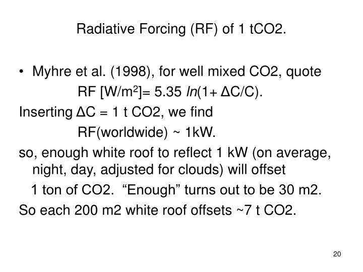 Radiative Forcing (RF) of 1 tCO2.