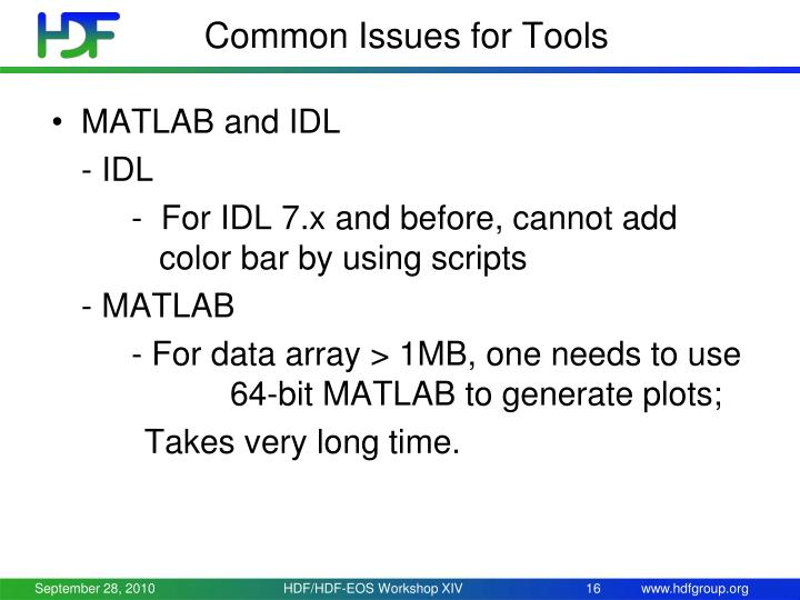 Common Issues for Tools