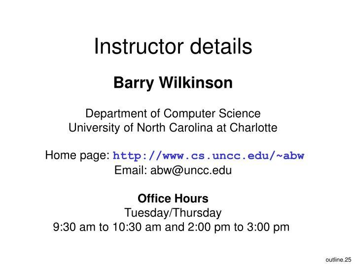 Instructor details