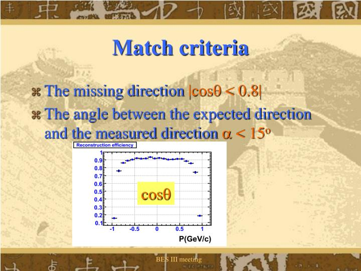 Match criteria