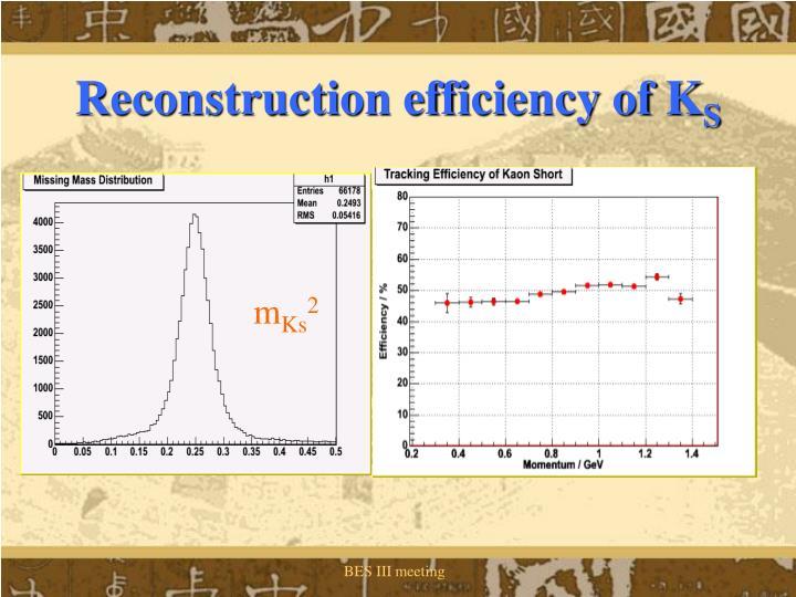 Reconstruction efficiency of K