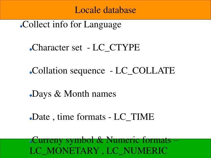 Locale database