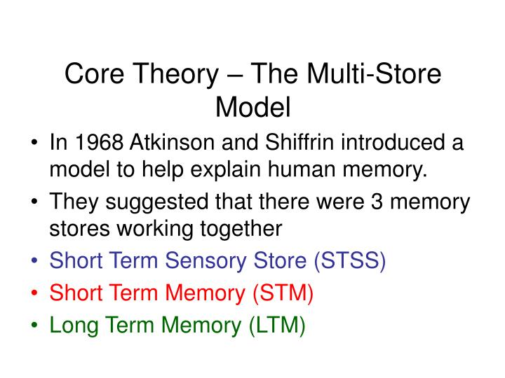 Core theory the multi store model