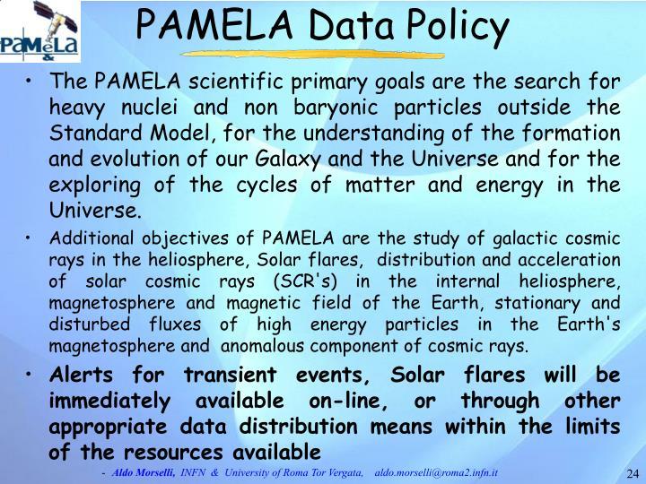 PAMELA Data Policy