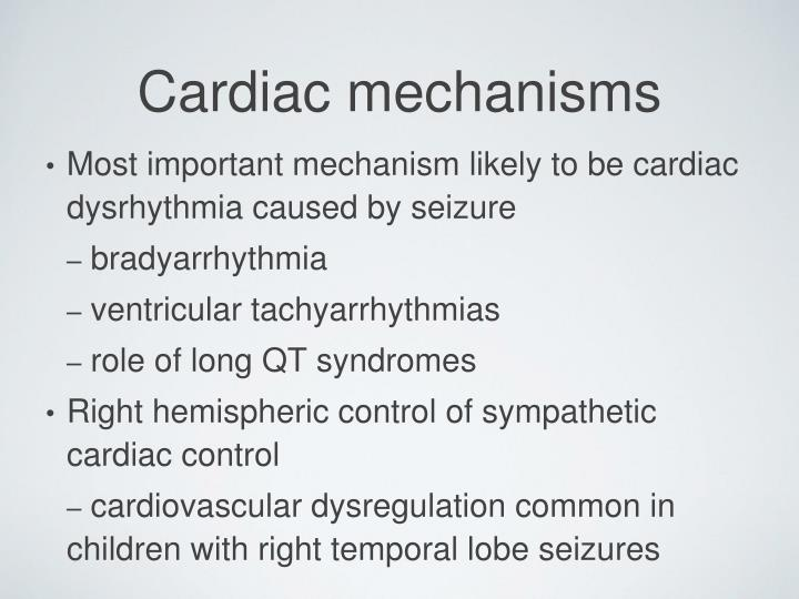 Most important mechanism likely to be cardiac dysrhythmia caused by seizure