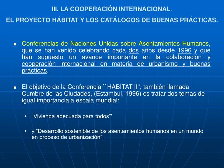 III. LA COOPERACIÓN INTERNACIONAL