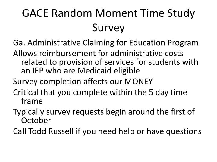 GACE Random Moment Time Study Survey