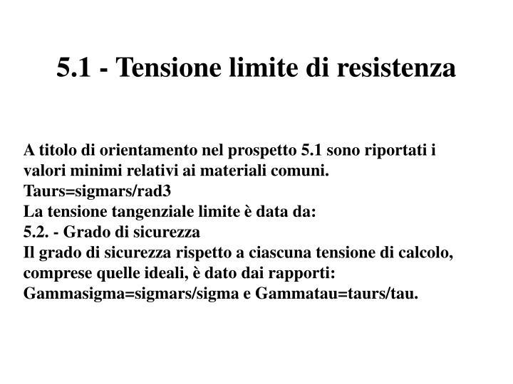 5.1 - Tensione limite di resistenza