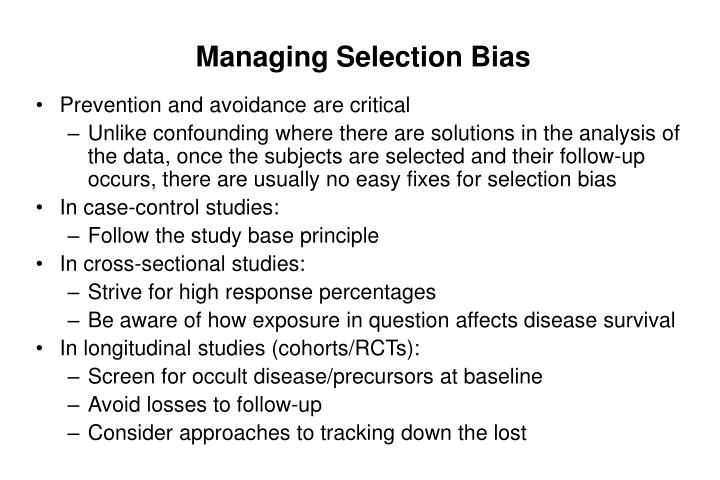 Managing Selection Bias