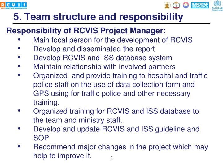 Responsibility of RCVIS Project Manager: