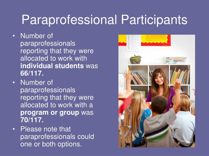 Number of paraprofessionals reporting that they were allocated to work with