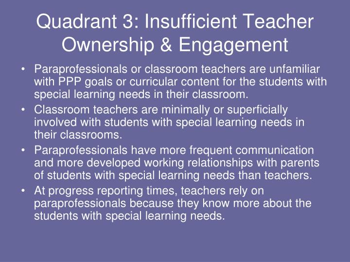 Quadrant 3: Insufficient Teacher Ownership & Engagement