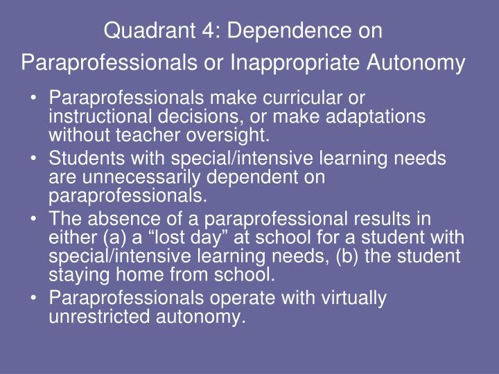 Quadrant 4: Dependence on Paraprofessionals or Inappropriate Autonomy