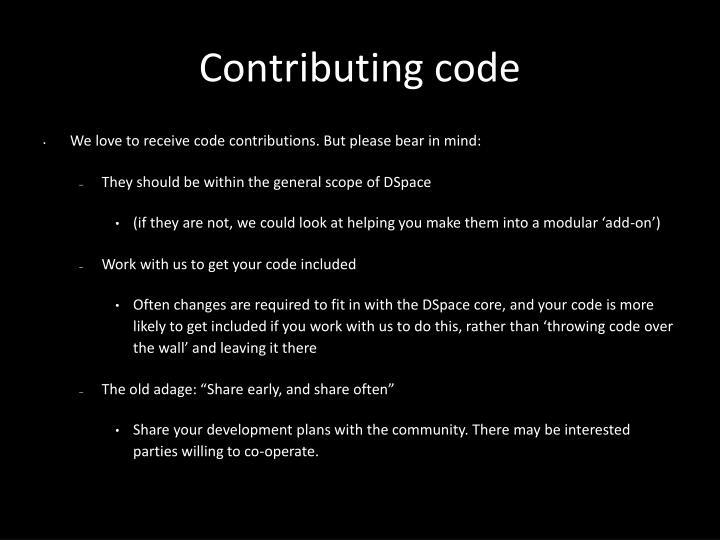 Contributing code
