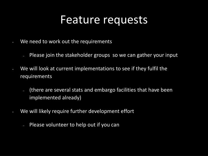 Feature requests