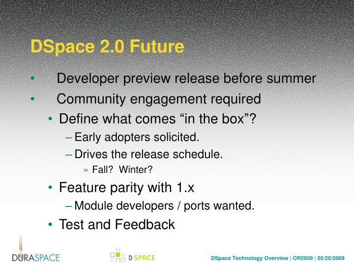 DSpace 2.0 Future