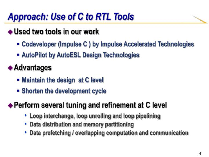 Approach: Use of C to RTL Tools