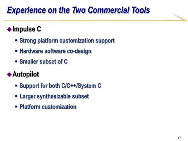 Experience on the Two Commercial Tools