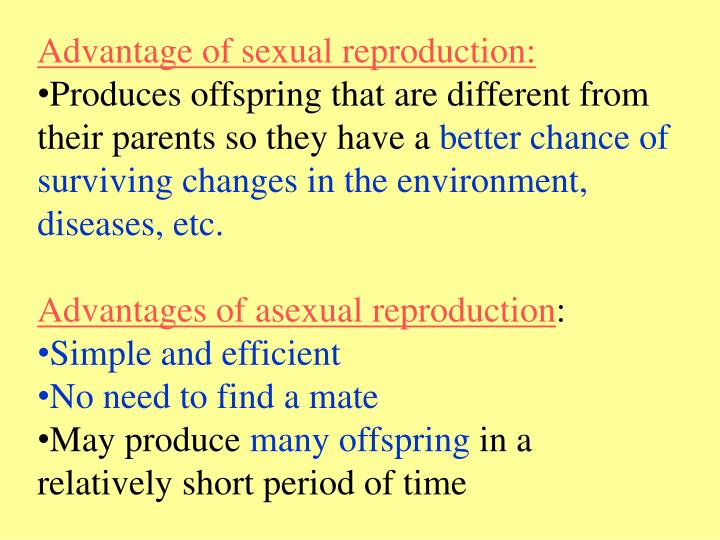 Advantage of sexual reproduction: