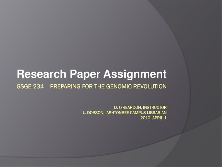Preparing A Research Paper