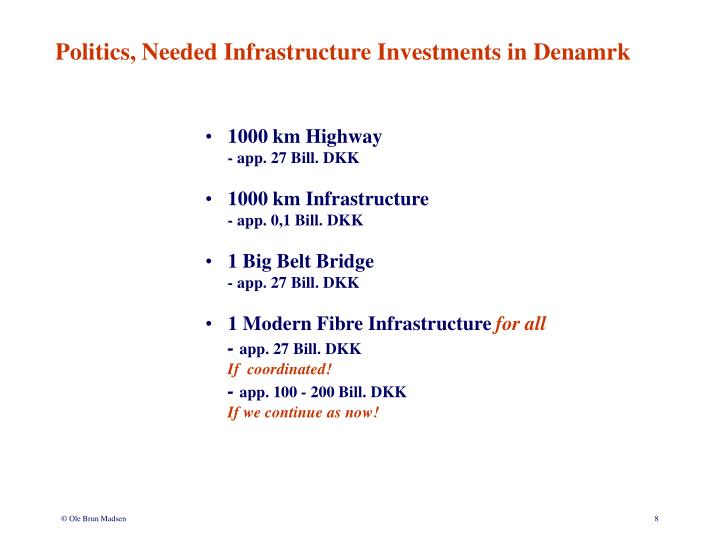 Politics, Needed Infrastructure Investments in Denamrk