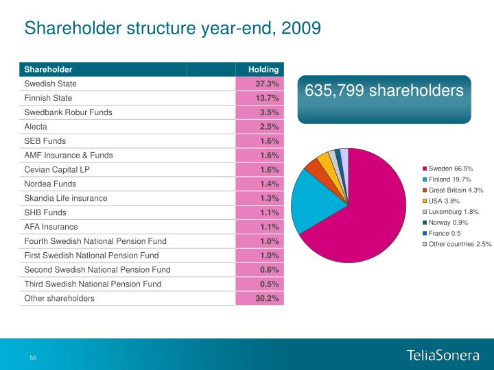 Shareholder structure year-end, 2009