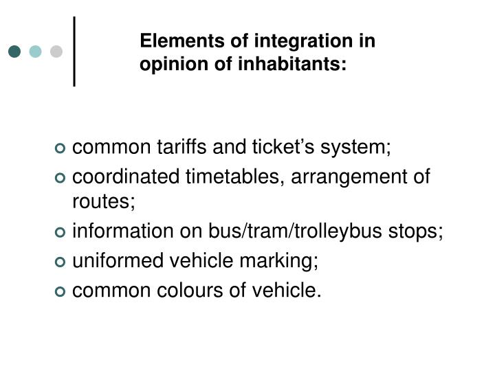 Elements of integration in opinion of inhabitants: