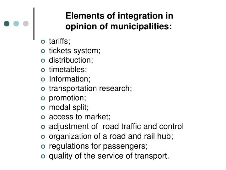 Elements of integration in opinion of municipalities: