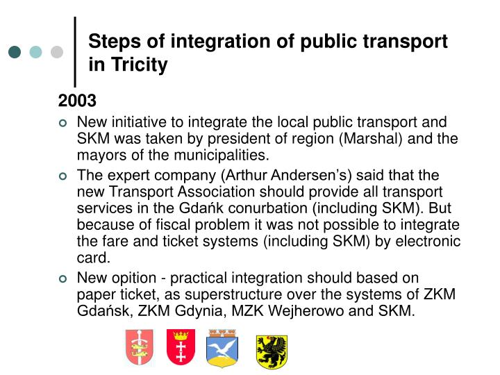 Steps of integration of public transport in Tricity