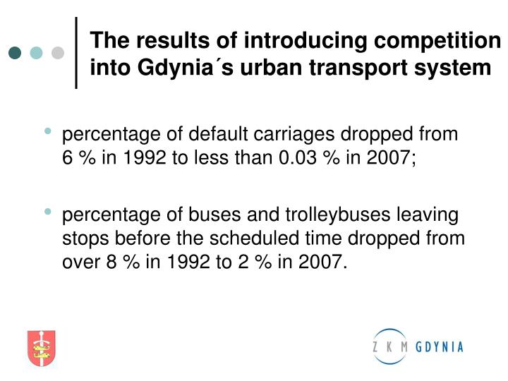 The results of introducing competition into Gdynia´s urban transport system