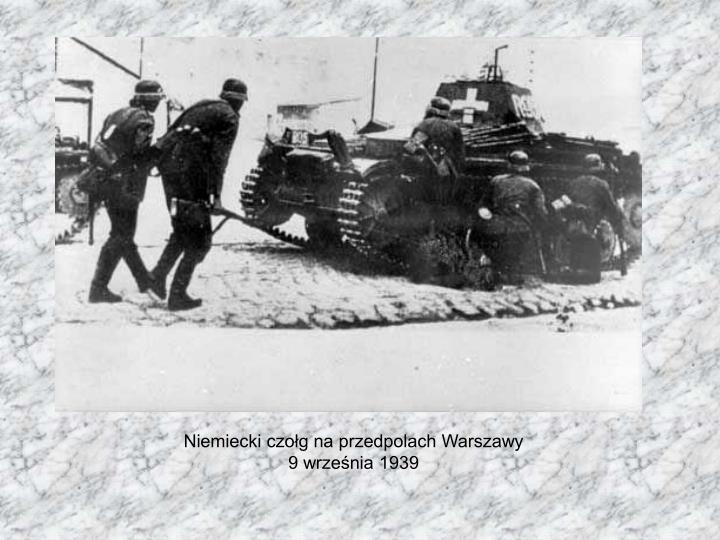 Niemiecki czołg na przedpolach Warszawy 9 września 1939