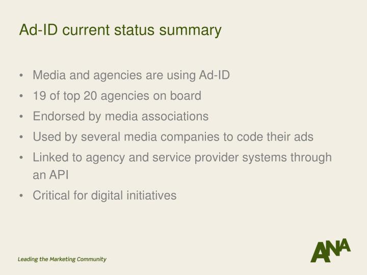 Ad-ID current status summary