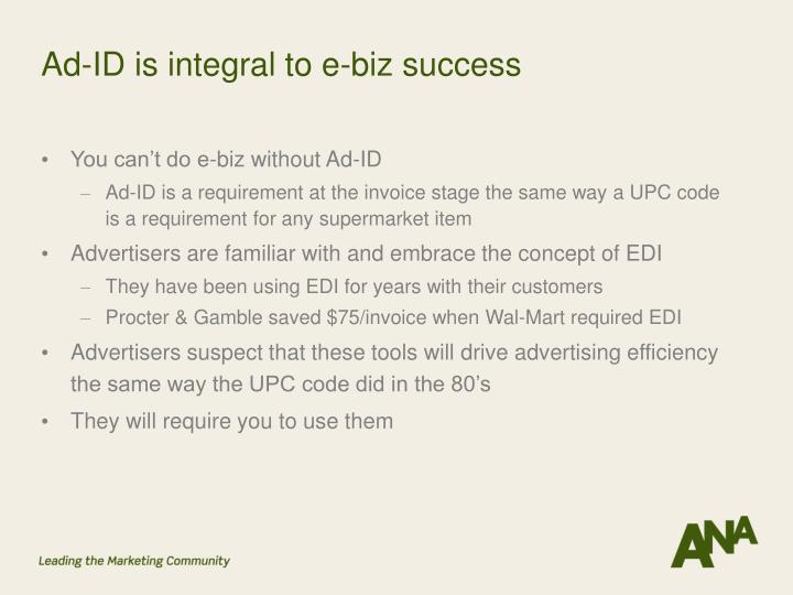 Ad-ID is integral to e-biz success