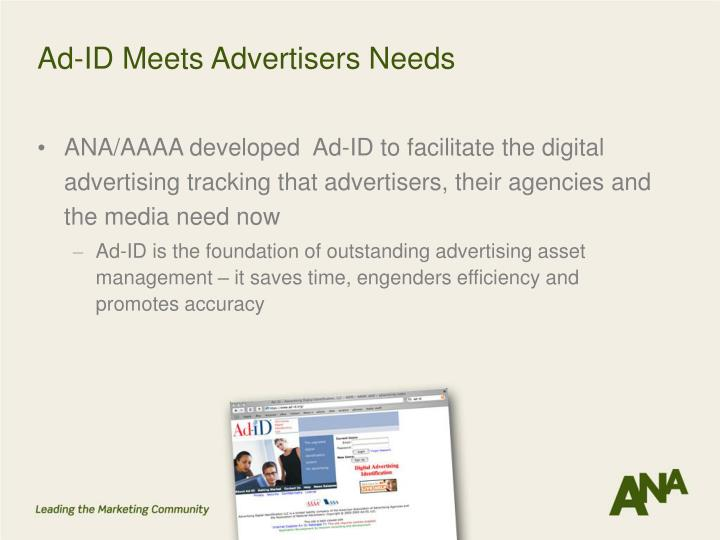 Ad-ID Meets Advertisers Needs