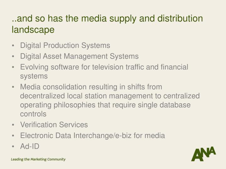 ..and so has the media supply and distribution landscape