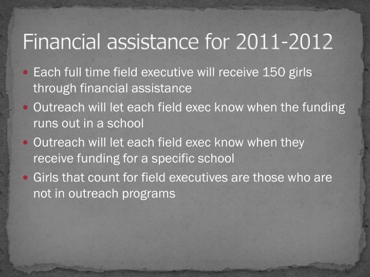 Financial assistance for 2011-2012