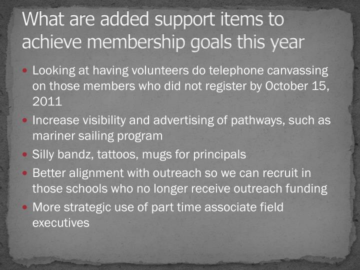 What are added support items to achieve membership goals this year