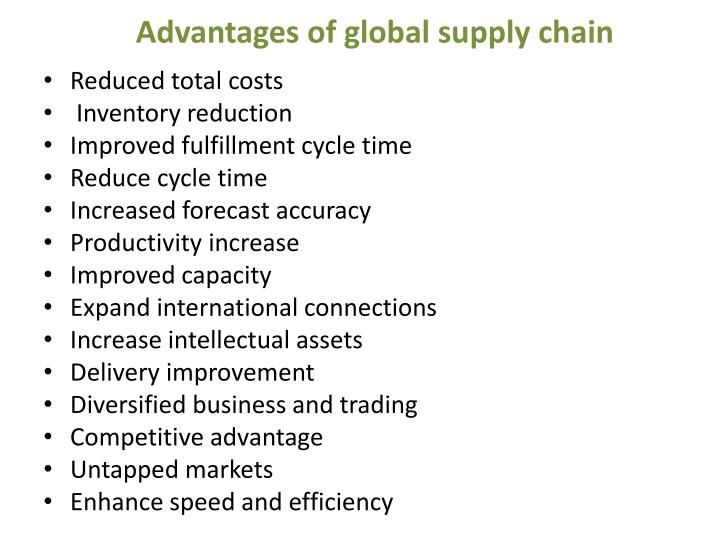 Advantages of global supply chain
