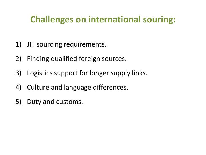 Challenges on international souring: